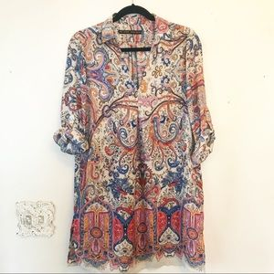 Zara paisley tunic dress